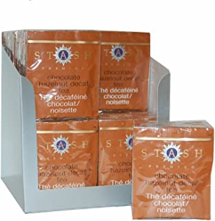 Stash Tea Decaf Chocolate Hazelnut Black Tea 10 Count Tea Bags in Foil (Pack of 12) (packaging may vary) Individual Decaffeinated Black Tea Bags, Use in Teapots Mugs or Cups, Brew Hot Tea or Iced Tea