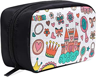 Princess Tiara Crown Notebook Doodle Portable Travel Makeup Cosmetic Bags Organizer Multifunction Case Small Toiletry Bags For Women And Men Brushes Case
