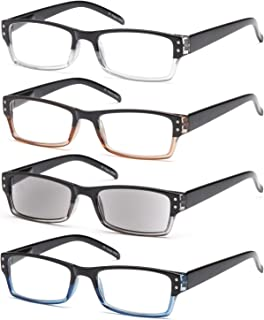 Gamma Ray Reading Glasses - 4 Pairs Spring Hinge Readers with Reader Sunglasses