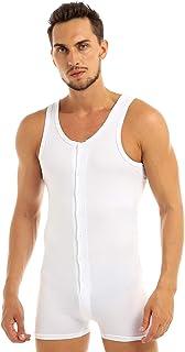 FEESHOW Men's Button Up Tank Leotard Bodysuit Sinlget Underwear