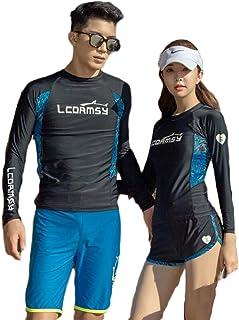 (ジュタオピン)ペア水着 おしゃれ ペアルック カップル 水着 長袖 大きいサイズ ペア カップル ラッシュガード ダイビング 水着 体型カバー 日焼け止め 夫婦 お揃い 水着 ブルー おしゃれ