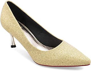 tresmode Women's Glittery Gold Pointed Toe Pumps