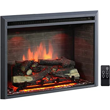 PuraFlame Western Electric Fireplace Insert with Fire Crackling Sound, Remote Control, 750/1500W, Black, 29 59/64 Inches Wide, 23 3/16 Inches High