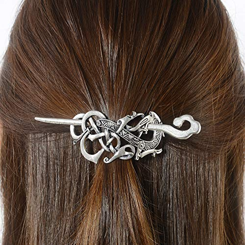 Viking Celtic Hair Clips Hairpin-Viking Hair Sticks Ladies Hair Accessories Dragon Clips for Long Hair Slide Pin Irish Antique Silver Hairstick Celtic Knot Viking Jewelry Hair Clip Men Gift