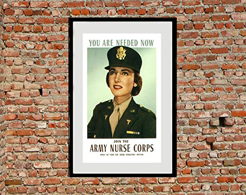 AZSTEEL Join The Army Nursing Corp - Reprint of A WW2 US Recruiting Poster   Poster No Frame Board for Office Decor, Best Gift for Family and Your Friends 11.7 * 16.5 Inch