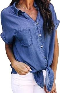 MAXIMGR Women Fashion Sexy Button Down Short Sleeve Tie Knot Front Lapel Denim Blouse Tops Shirt