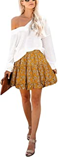 Omeya Floral Layered Ruffles Flared Elastic High Waist Cute Casual Mini Pleated Skater Skirt for Woman