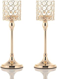 VINCIGANT Gold Crystal Cylinder Candle Holders Set of 2 for Anniversary Celebration Table Centerpieces Thanksgiving Gifts,12 Inches Tall