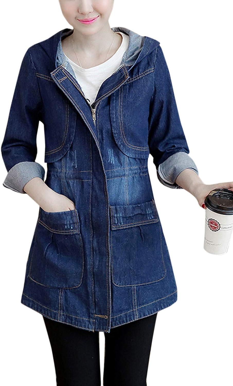 Flygo Womens Hooded Zip Front Mid Long Denim Jean Jacket Windbreaker
