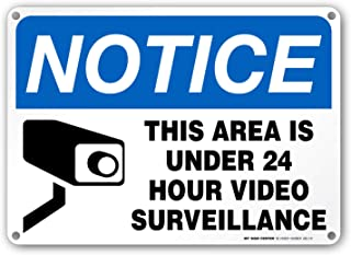 24 Hour Video Surveillance Sign, Security Camera Sign Warning for Home or Business CCTV Monitoring System, Outdoor Rust-Free Metal, 10