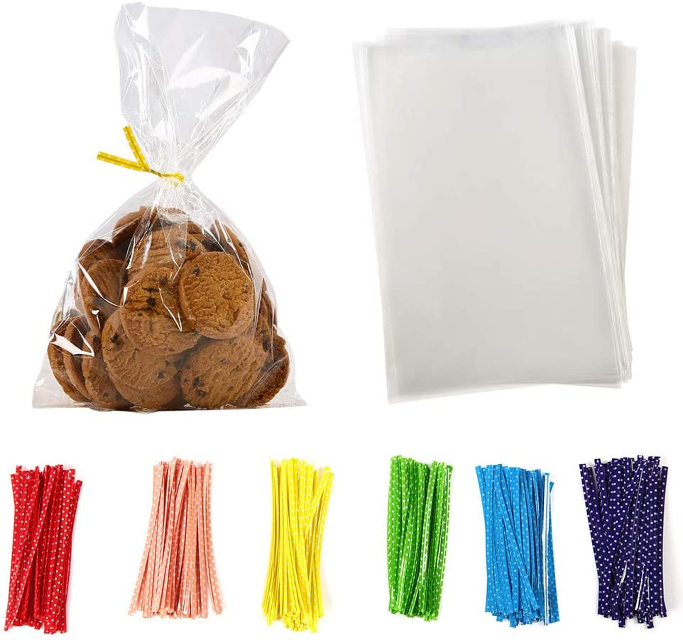100 Pcs 8 in x 6 in Clear Flat Cello Cellophane Treat Bags Good for Bakery,Popcorn,Cookies, Candies,Dessert 1.4mil.Give Metallic Twist Ties! : Health & Household