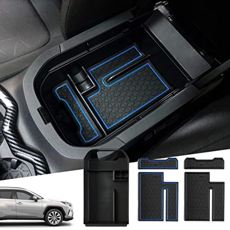 Blue SKTU Compatible with 2020 2021 RAV4 Car Center Console Organizer Insert ABS Black Materials Tray Toyota Armrest Box Glove Secondary Storage Box with Coin and Glass Holder