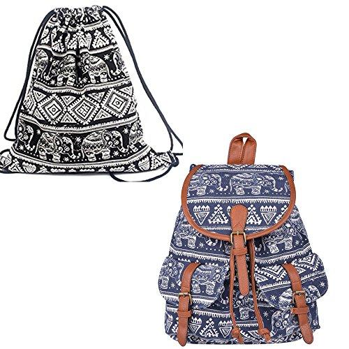 Leefrei Casual Canvas Damen Herren Rucksack Daypack Backpacks Freizeitrucksack Schulrucksack Schultasche (Elefant Blau+Beutel)