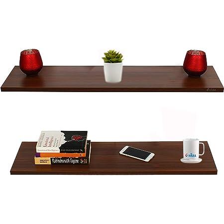 Anikaa Feu Engineered Wood Wall Decor Floating Shelf/Engineered Wood Shelves/Storage Display Rack Wall Shelf for Living Room Bedroom Office (Walnut) Set of 2 [LxBxH(cm): 65x23x1.7]