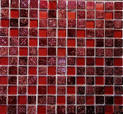 Mosaik Fliese Transluzent rot Glasmosaik Crystal Resin rot für WAND BAD WC DUSCHE KÜCHE FLIESENSPIEGEL THEKENVERKLEIDUNG BADEWANNENVERKLEIDUNG Mosaikmatte Mosaikplatte
