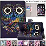 Universal Case for 9.0-10.5 inch Tablet,REASUN Slim Folio PU Leather Card Slot Wallet Shell for Apple/Samsung/Kindle/Huawei/Lenovo/Android/Dragon Touch 9.7 9.6 10.1 10.5 Inch Tablet (Owl Totem)