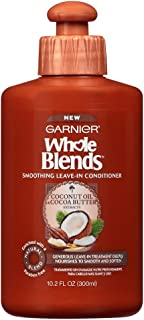 Garnier Hair Care Whole Blends Smoothing Leave-In Conditioner with Coconut Oil & Cocoa Butter Extracts, 10.2 Fl Oz (3 Count)