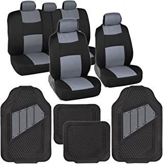 BDK OS-309-GR+MT-861-GR Two-Tone PolyCloth Car Seat Covers w/Motor Trend Dual-Accent Heavy Duty Rubber Floor Mats-Black/Gray