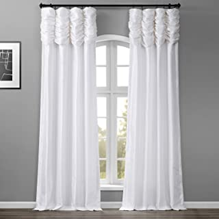 HPD Half Price Drapes PTCH-120-84-RU Ruched Faux Solid Taffeta Curtain (1 Panel), 50 X 84, Eggshell