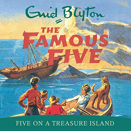 Famous Five: Five On A Treasure Island cover art, four children and a dog in a boat, heading towards a small island with a wrecked boat on the shore.