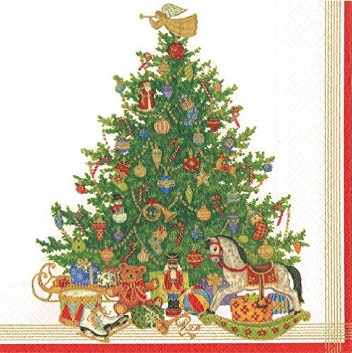 Caspari mittagessen-Servietten dreilagig, Oh Christmas Tree, 20 Stück, 33 x 33 cm