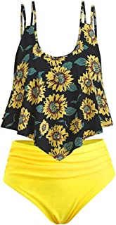Cenglings Women Sunflower Print Two Pieces Bathing Suits Ruffled with High Waisted Bottom Tummy Control Bathing Suit