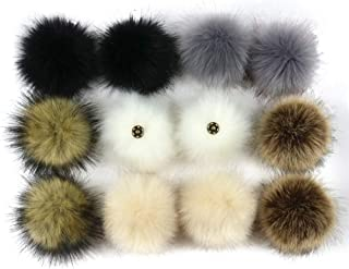 12pcs Pompom Ball DIY,Vanvler Faux Fox Fur Pom Pom with Press Button Removable Knitting Hat Accessories C