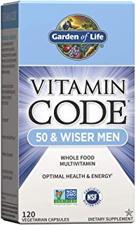 Garden of Life Multivitamin for Men - Vitamin Code 50 & Wiser Men's Raw Whole Food Vitamin Supplement with Probiotics, Vegetarian, 120 Capsules