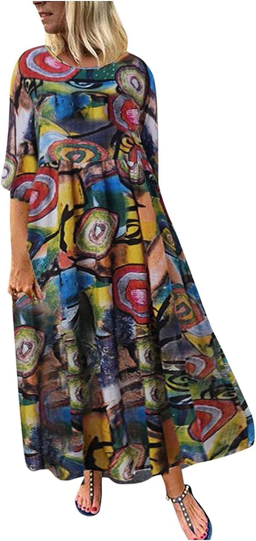GOODTRADE8 Summer Dresses Maxi Dress Women O-Neck 3/4 Sleeve Loose Retro Cotton and Linen Printing Dresses