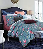 Eikei Botanical Garden Duvet Cover Washed Brushed 100-percent Cotton Bedding Set Asian Chinoiserie Print Colorful Tropical Tree Branches and Birds Floral Pattern (Queen, Blue Dusk)