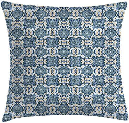 BONRI Funda de cojín Vintage para cojín, patrón Floral Estilo Mandala Que se Repite, Funda de Almohada Decorativa con Acento Cuadrado, Verde reseda Azul Celeste , (17'x 17' / 43x43cm