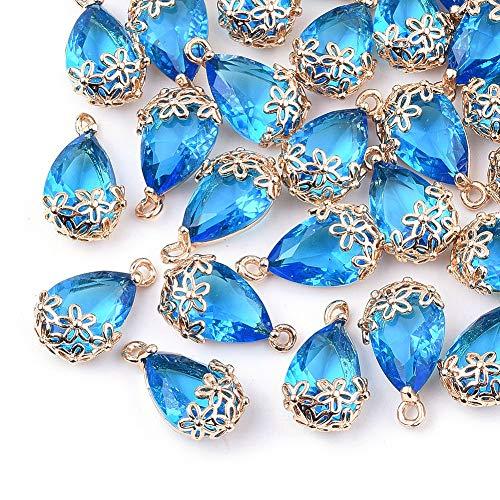 Cheriswelry 50 colgantes de cristal con forma de gota y cuentas de cristal transparentes de latón dorado con marco de flor para joyería y pendientes, color azul