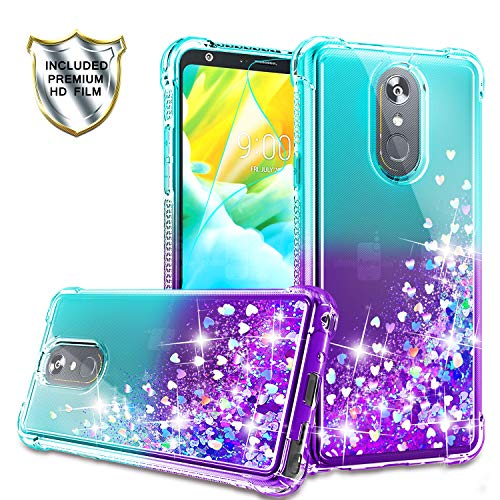 LG Stylo 4 Case, LG Stylo 4 Plus/LG Q Stylus Phone Case with HD Screen Protector for Girls Women, Gritup Cute Clear Gradient Glitter Liquid TPU Slim Phone Case for LG Stylo 4 Teal/Purple