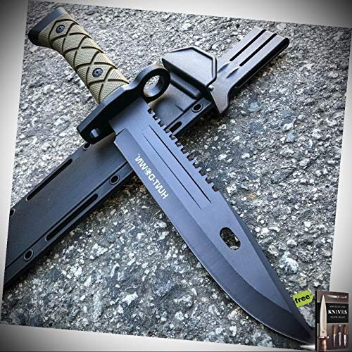 13.5' Army Black Survival Fixed Blade Hunting Stainless Steel Blade Knife W/Sheath New + Free eBook by Survival Steel