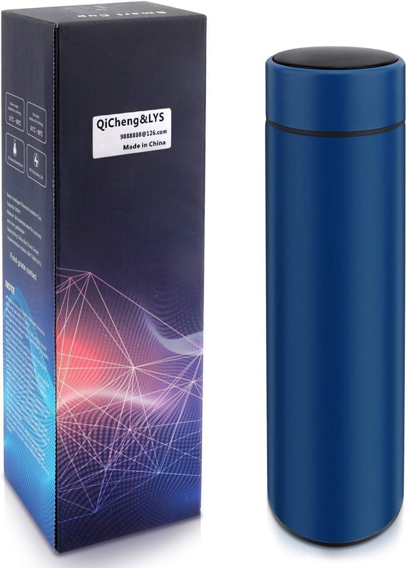 QiCheng&LYS Taza termo taza termo de viaje de 17 oz / 500 ml, taza termo deportiva, sin BPA, acero inoxidable 304 sin PVC, adecuada para agua fría y caliente (Azul)