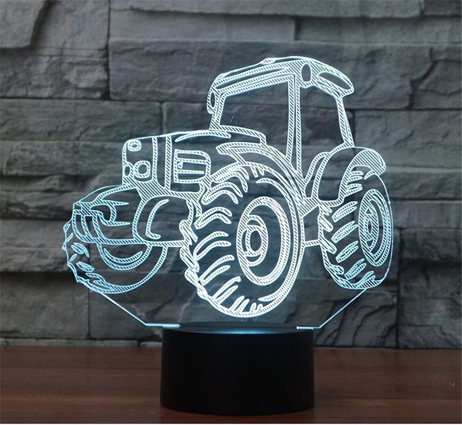 3D LED Night Light Table Desk Lamps 3D Optical Illusion Visual Lamp 7 colors Touch Table Desk Lamp for Christmas Birthday Gift Tractor