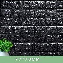 SIZKL 3D Wall Stickers Decorate Self Adhesive for Kids Room Bedroom Decor Foam Brick Room Decor Wallpaper Wall Sticker-black-70X7.5CM