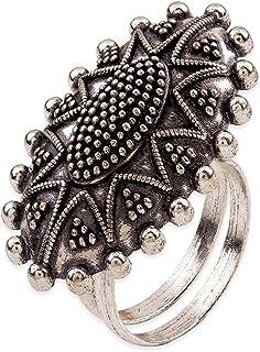 Voylla Rava Ball Trending Silver Oxidized Ring for Women
