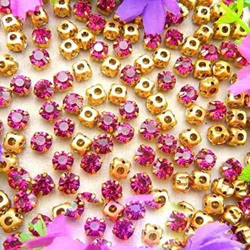 Configuración de garra de oro de cristal de cristal de colores 3 mm 4 mm 5 mm 6 mm 7 mm 8 mm colores de fantasía forma redonda coser en cuentas de diamantes de imitación prenda diy