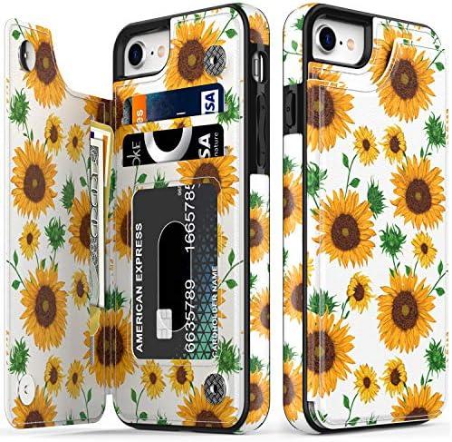 LETO iPhone 8 Plus Case iPhone 7 Plus Case Flip Folio Leather Wallet Case with Floral Designs product image