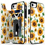 LETO iPhone 8 Plus Case,iPhone 7 Plus Case,Flip Folio Leather Wallet Case with Floral Designs,Kickstand Card Slots Cover,Protective Phone Case for iPhone 7 Plus/iPhone 8 Plus Nice Sunflower
