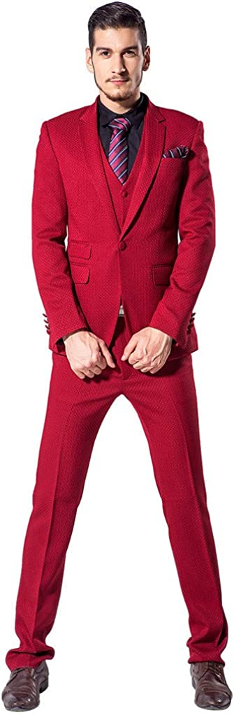 XoMoFlag Men's Wedding Business Formal Suit Gentleman Dinner Notch Lapel Hot Red
