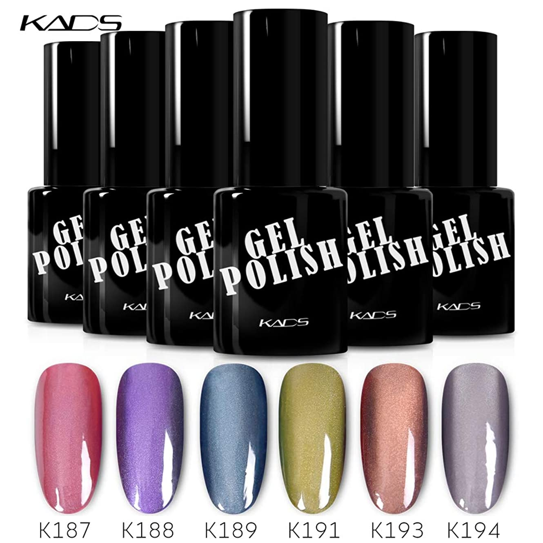 平日反毒ラバKADS カラージェル 6色入り キャッツアイジェルネイル グリーン/ピンク/グレー カラーポリッシュ UV/LED対応 艶長持ち