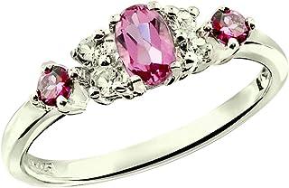 RB Gems 纯银 925 戒指真宝石(翡翠、粉红碧玺、红绿)镀铑表面