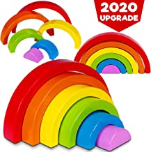 Dreampark Wooden Rainbow Stacking Toy Stacker Nesting Puzzle Blocks, Color Shape Matching Educational Learning Toys for Kids Toddlers Boys and Girls