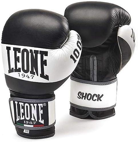 Leone1947 Shock Gants de Boxe en Cuir de Vachette Noir