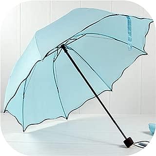 Rain Umbrella For Women Folding Female Umbrellas Handle Comfortable 92Cm Outdoor Travel,Light Blue