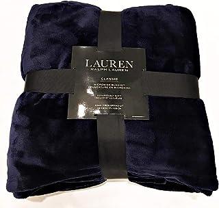 Ralph Lauren Monogram Classic Navy Blue Micromink Full/Queen Bed Blanket   90