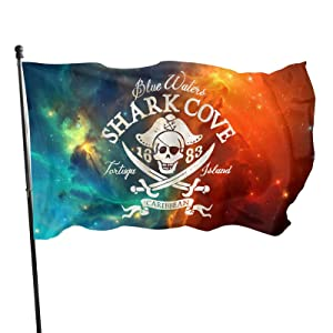 Pirate, Shark Cove Tortuga Island Caribbean Waters Retro Jolly Roger Flag 3x5 FT Outdoor Banner Garden House Home Decor Flag Fade Resistant