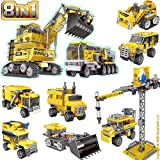 KareFLASH Construction Vehicles Lego Compatible Bricks | 893 Pieces in 8 Individual Boxes, 26 Projects | Car Truck Excavator Bulldozer Dump Tower Jeep | Party Favors Bags | Kids Love Them!